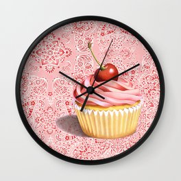 Pink Cupcake Paisley Bandana Wall Clock