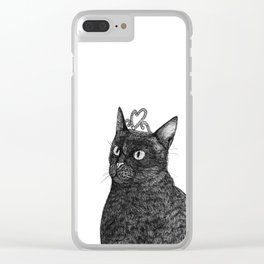 Nishi the Black Cat Wearing a Glittering Heart Tiara Clear iPhone Case