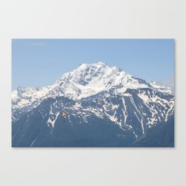 Swiss Alps and Paraglider Canvas Print
