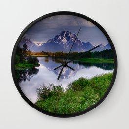 Mt. Moran at Oxbow Bend Wall Clock