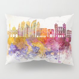 Montevideo skyline in watercolor background Pillow Sham