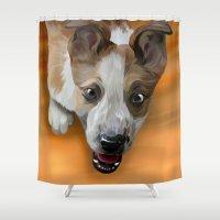 finn Shower Curtains featuring Finn by Nojjesz