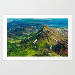 Green Mountain Iceland Art Print