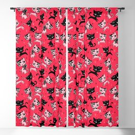 Devil Kitties Red Blackout Curtain