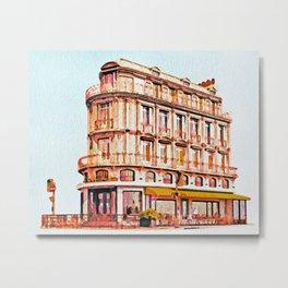 Watercolor Paris -  Storefront -  Watercolor Shop -  Store - Vintage illustration. Retro décor. Metal Print