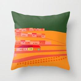 Nightime Village Throw Pillow