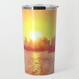 Sunset Over Miami Florida Travel Mug