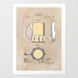patent Beer Mugs Art Print