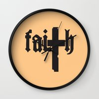 faith Wall Clocks featuring Faith by Spooky Dooky