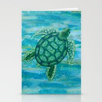 sea turtle Stationery Cards featuring turtle by Brittany Rae