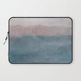 Turquoise Aqua Blue Coral Rose Pink Gray Abstract Painting, Modern Wall Art, Ocean Sunset Sand Wave Laptop Sleeve