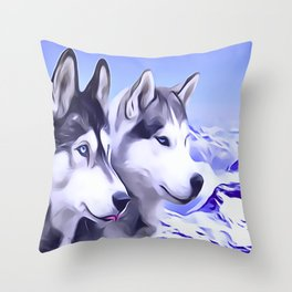 2 Siberian Huskies Throw Pillow