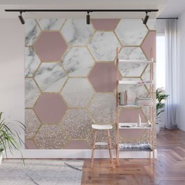 Cherished aspirations rose gold marble Wall Mural
