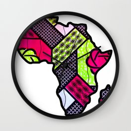 Pink and Green Africa Map Wall Clock