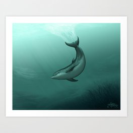 """Siren of the Lagoon"" by Amber Marine ~ Indian River Lagoon Bottlenose Dolphin Art, (Copyright 2015) Art Print"