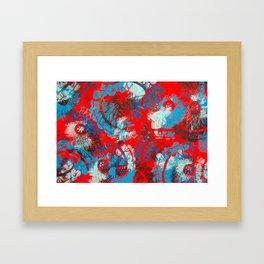 Red and blue mandalas Framed Art Print