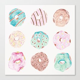 Watercolour Donuts on White Canvas Print