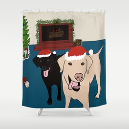 Labs Love Christmas! Shower Curtain