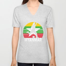 Myanmar Soccer Football MMR Unisex V-Neck