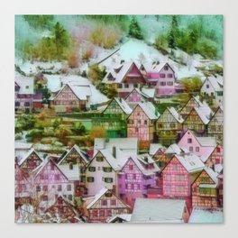 Rustic winter scene C Canvas Print