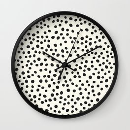 Black Decorative Dots on White, Minimalist line drawing, Modern art print with dots. Wall Clock