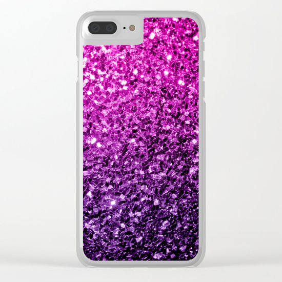 Purple Pink Ombre glitter sparkles Clear iPhone Case