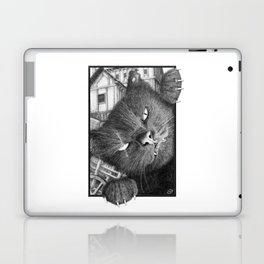 Malevolent One Eyed Black Cat in a Medieval Village Laptop & iPad Skin