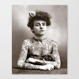 Tattooed Lady, 1907. Vintage Photo Canvas Print