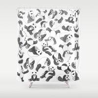 pandas Shower Curtains featuring Pandas by Karen Vaughan