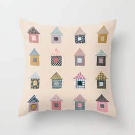 Patterned Houses Throw Pillow