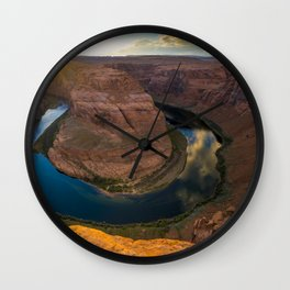Sunset at the Bend Wall Clock