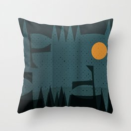 Night Abstract  Landscape Geometric Vector Art Throw Pillow