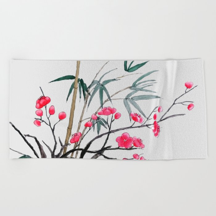 bamboo and red plum flowers Beach Towel