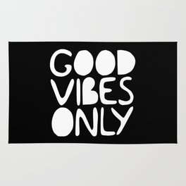 GOOD VIBES ONLY (black) - Handlettered typography Rug