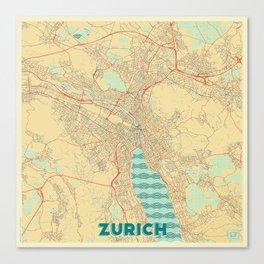 Zurich Map Retro Canvas Print