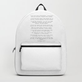 Do It Anyway by Mother Teresa #minimalism #inspirational Backpack