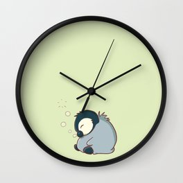 Sleepy baby penguin Wall Clock