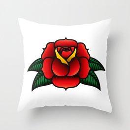 Vintage Tattoo Style Rose Throw Pillow