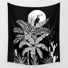 Toucan in the night jungle Wall Tapestry