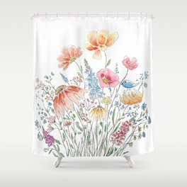 wild flower bouquet and blue bird- ink and watercolor 2 Shower Curtain
