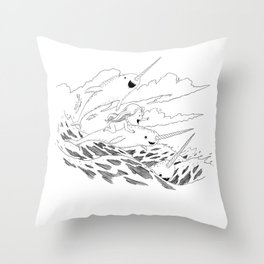 Waves of Freedom Throw Pillow