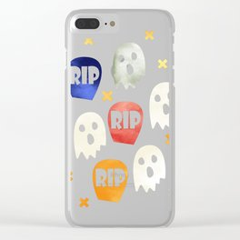 Ghost and Gravestone Halloween Clear iPhone Case
