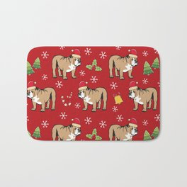 English Bulldog on Christmas Day Bath Mat