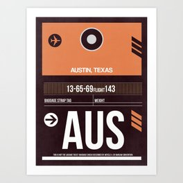 AUS Austin Luggage Tag 2 Art Print