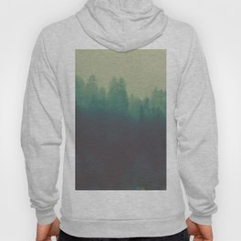 Misty Blue Pine Forest Tall Parallax Trees Silhouette Ombre Forest Foggy Landscape Hoody