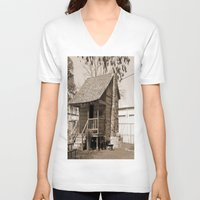 cabin V-neck T-shirts featuring Log Cabin by Rhonda Lain