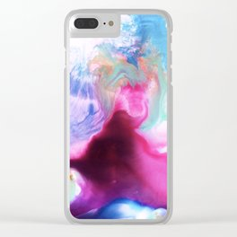 Rainbow Down Abstract Watercolor Painting Clear iPhone Case