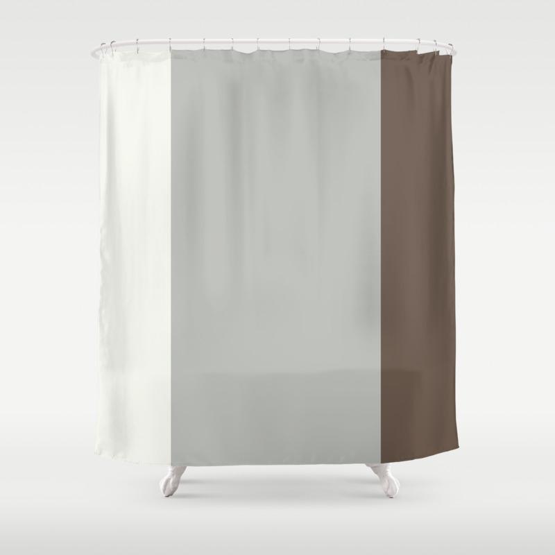 Benjamin Moore 2019 Color Of Year Metropolitan Mustang Brown Snowfall White Vertical Stripes Shower Curtain