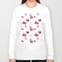 macaroons Long Sleeve T-shirts featuring Everything Red Velvet by Pink Geeks