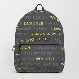 Yellow Web Design Keywords Poster Backpack